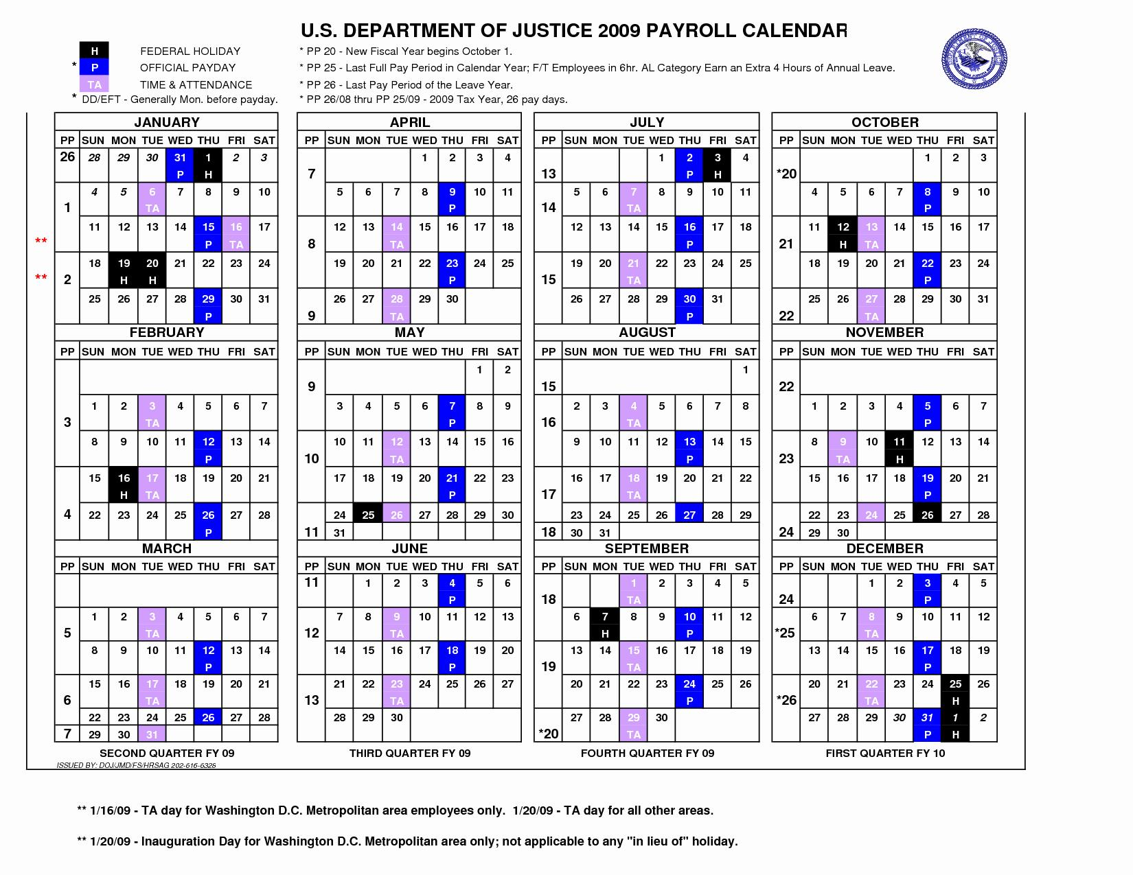 2018 Payroll Calendar Template Word
