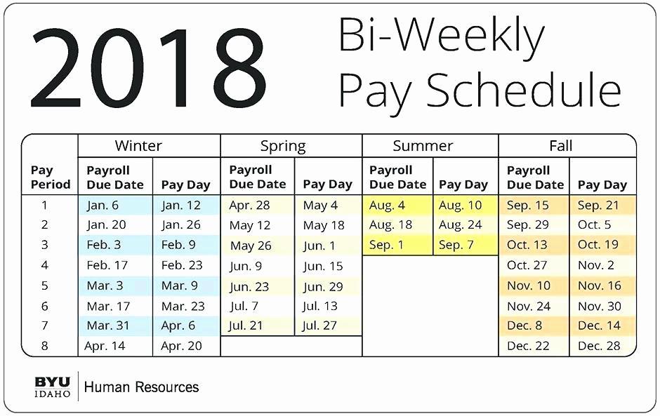 2019 Biweekly Payroll Calendar Template Excel