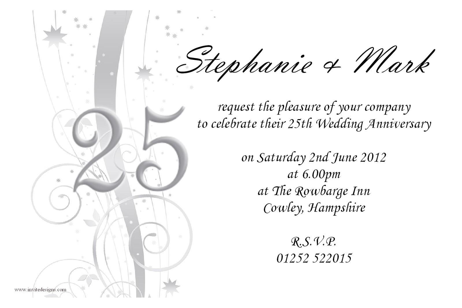 25th Anniversary Invitation Templates