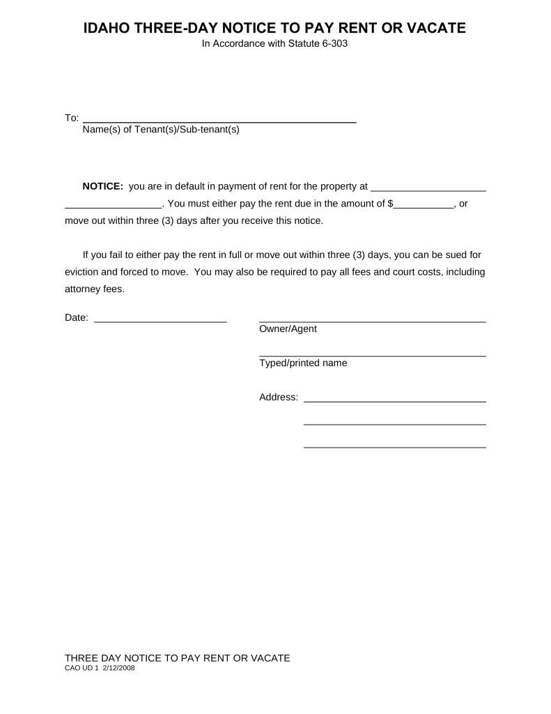 3 Day Notice To Pay Rent Or Quit Template