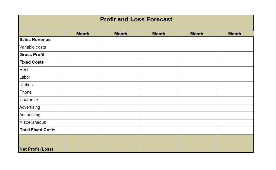 3 Years Projected Profit And Loss Statement Template