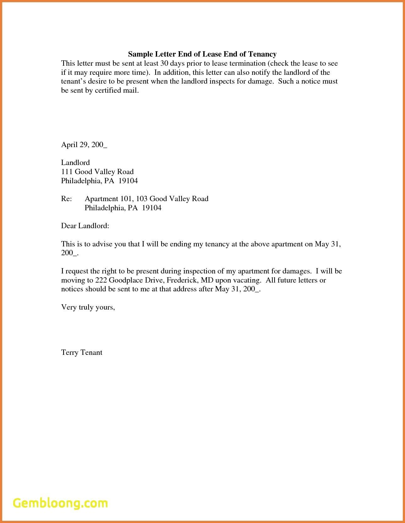 30 Day Notice Intent To Vacate Template
