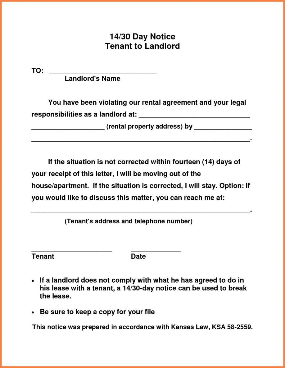 30 Day Notice To Vacate Letter Template From Tenant