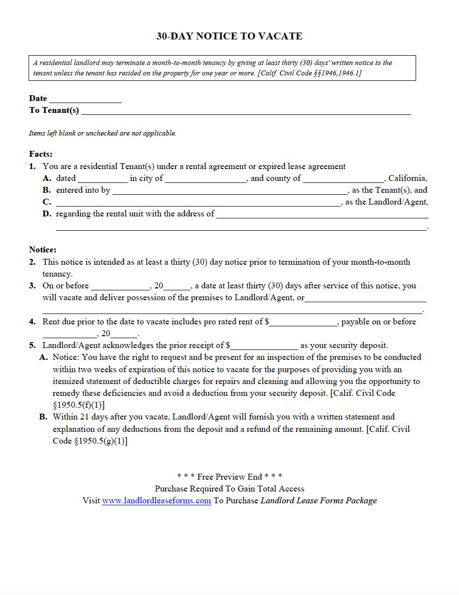 30 Day Notice To Vacate Template From Landlord