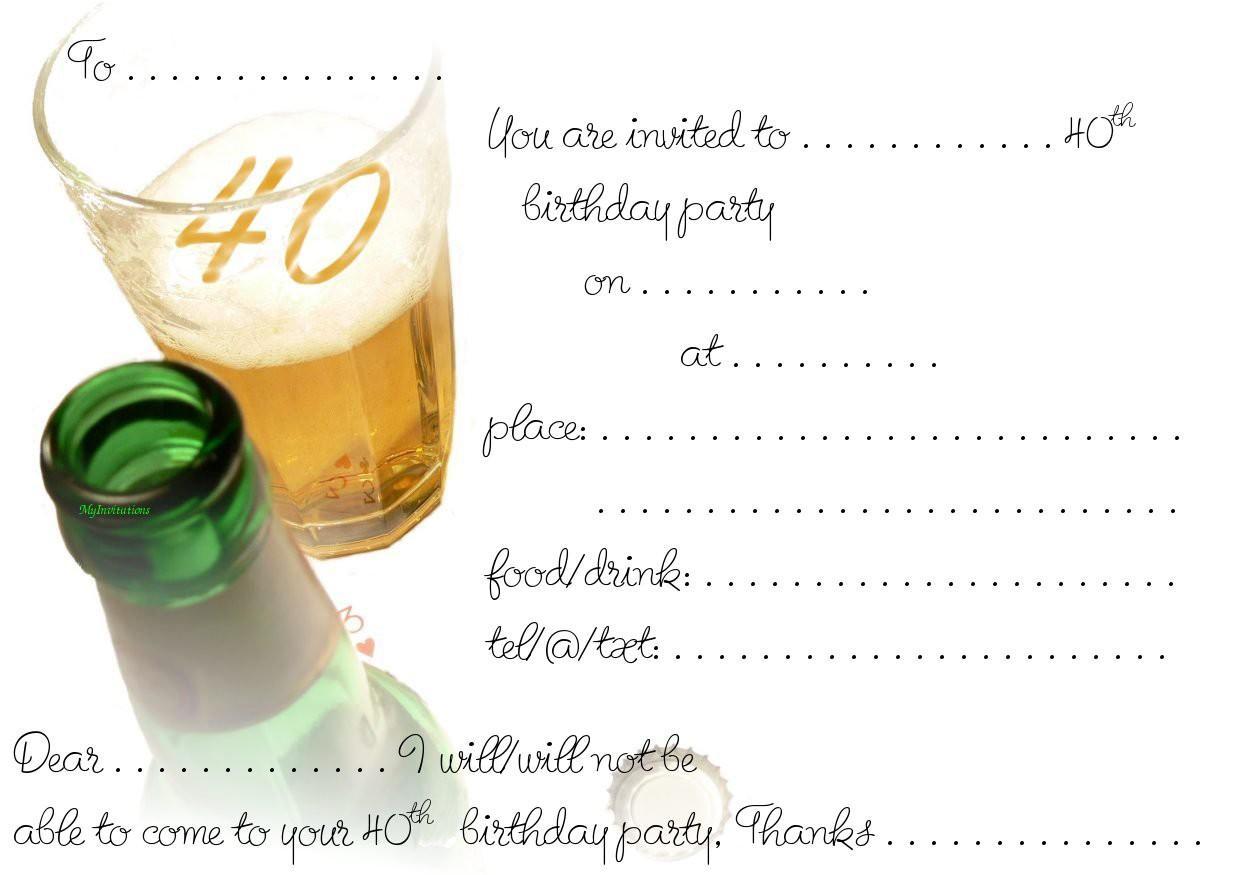 40th Birthday Invites Templates