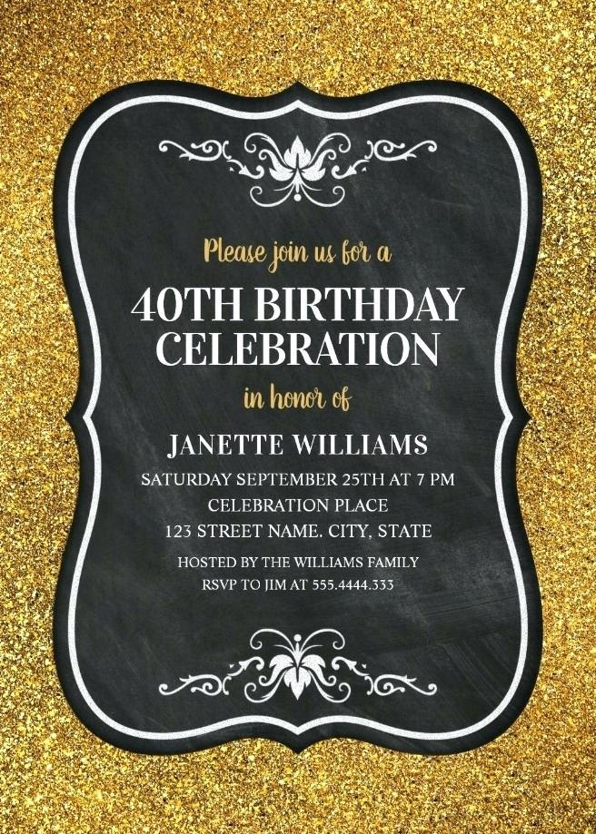 40th Birthday Party Invitation Templates Word