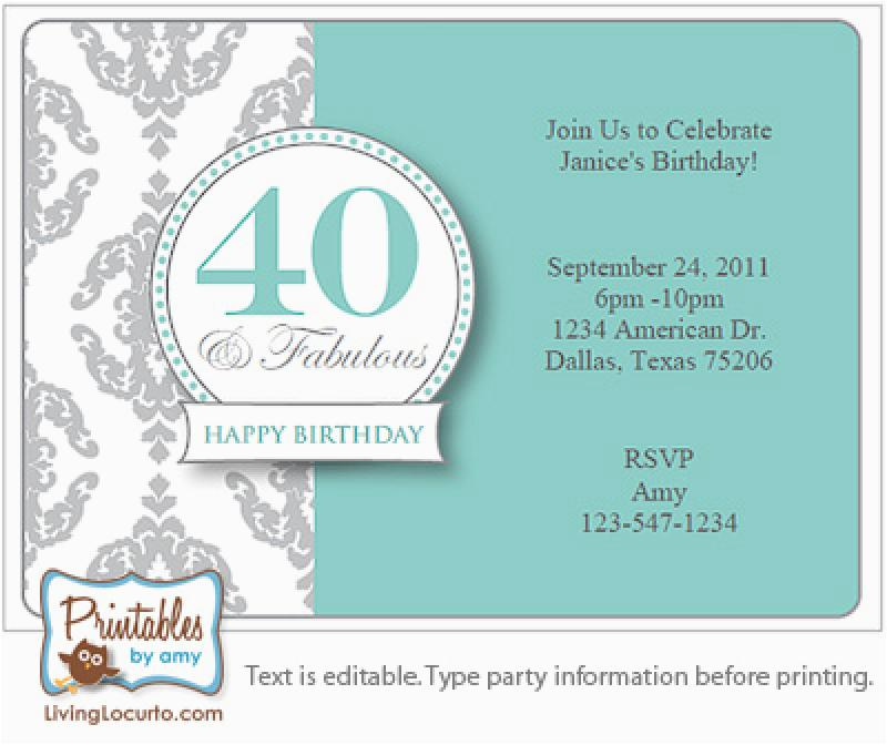 40th Party Invitation Templates