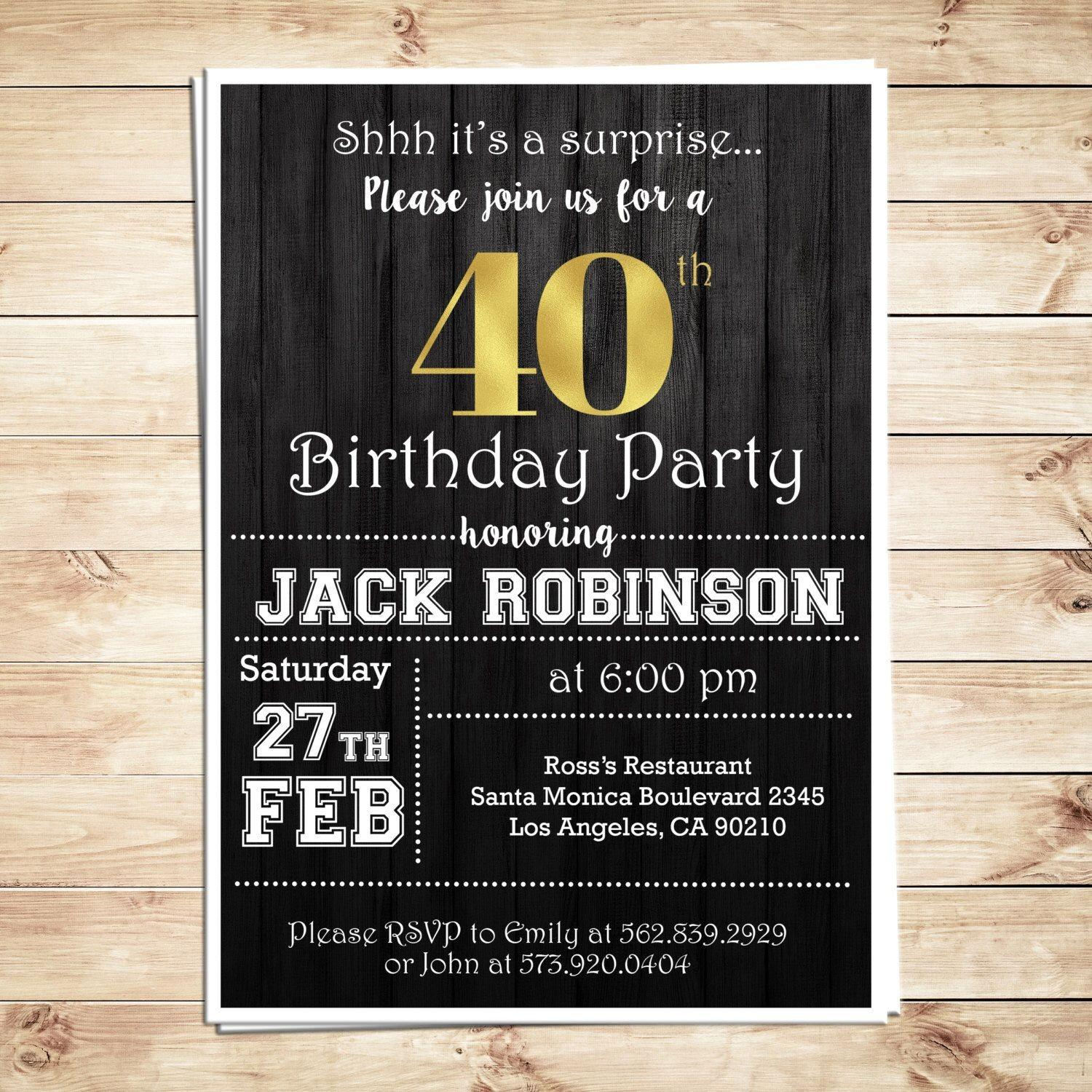 40th Surprise Birthday Party Invitation Templates