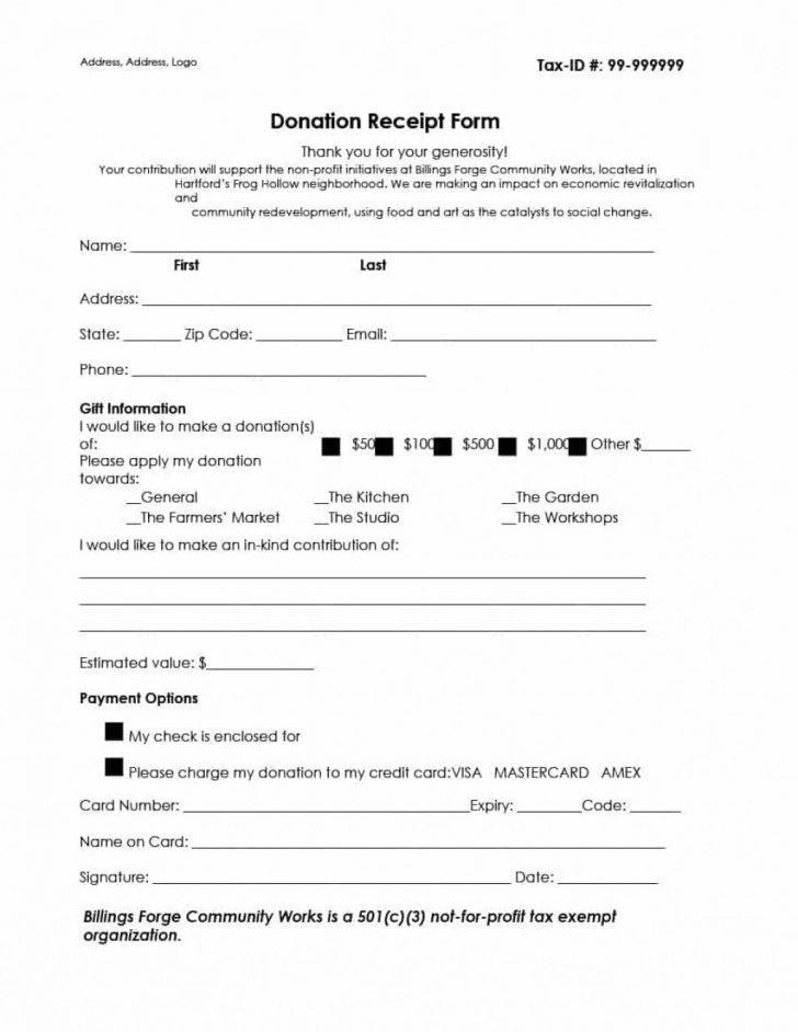 501c3 Donation Receipt Form
