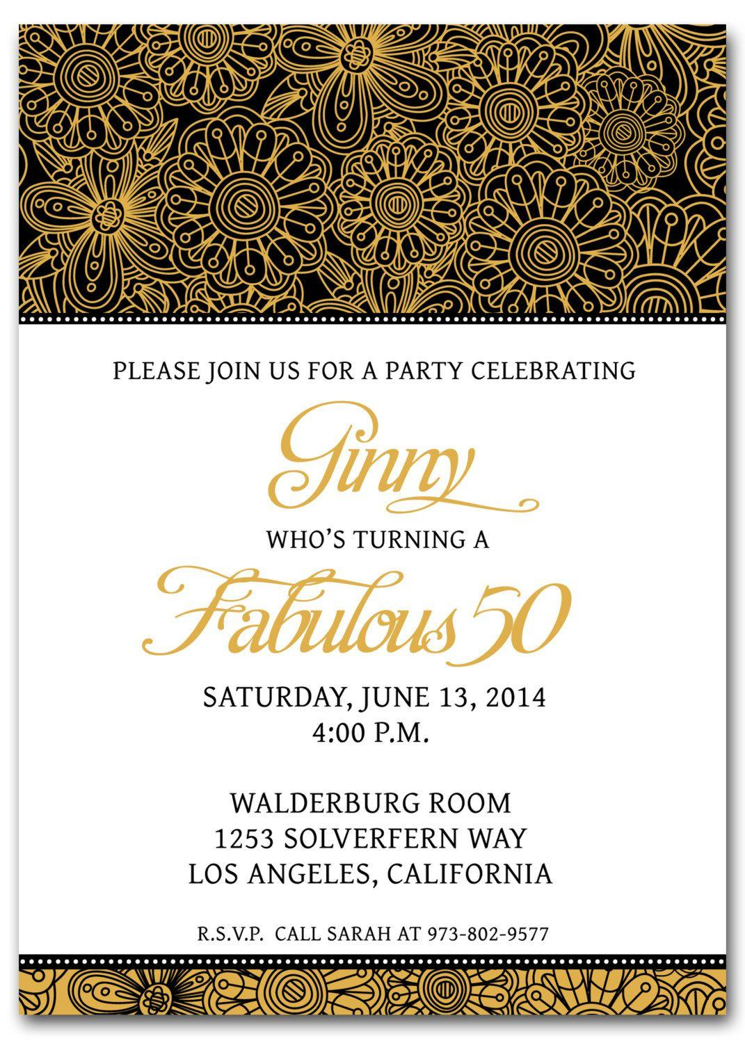 50th Birthday Invitation Templates Printable