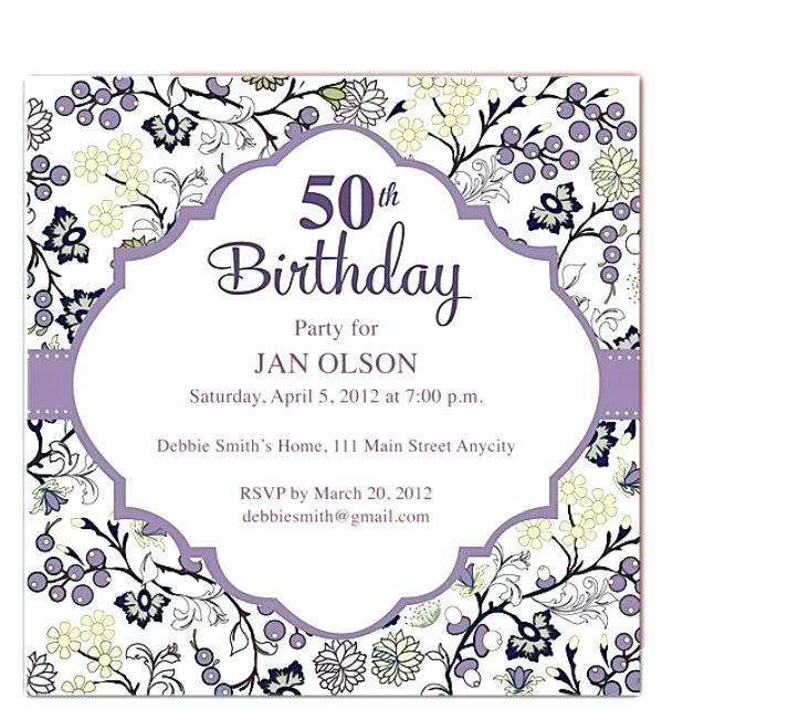 50th Birthday Party Invitation Samples