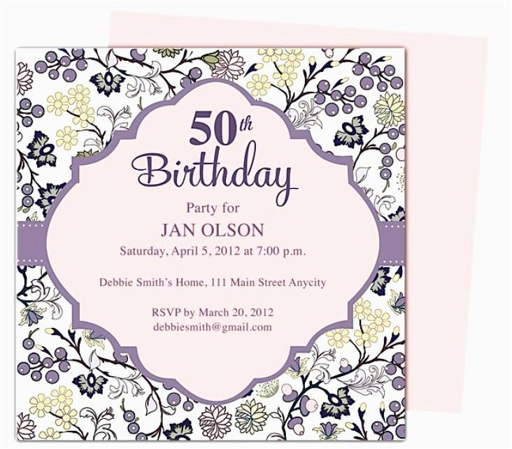 50th Birthday Party Invitation Templates