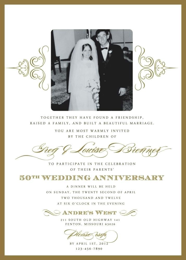 50th Wedding Anniversary Invitation Samples