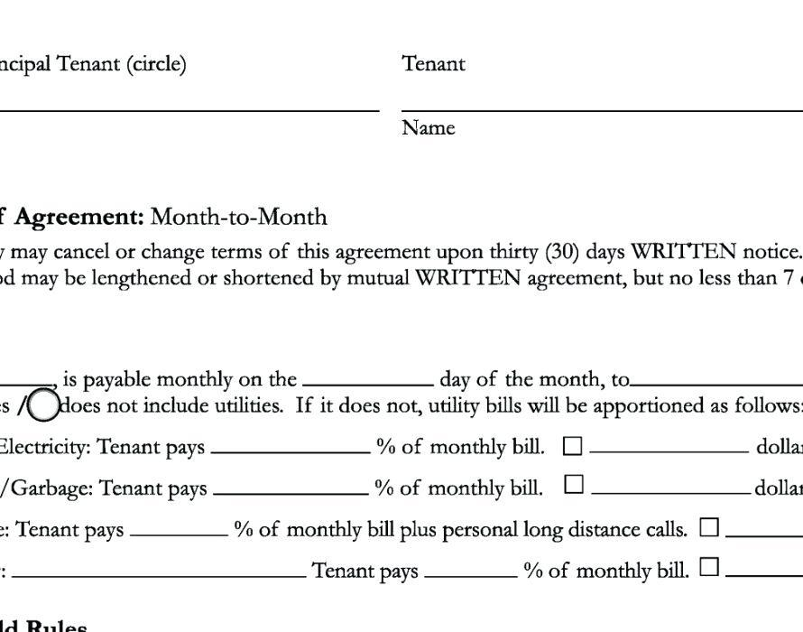 6 Month Rental Agreement Contract