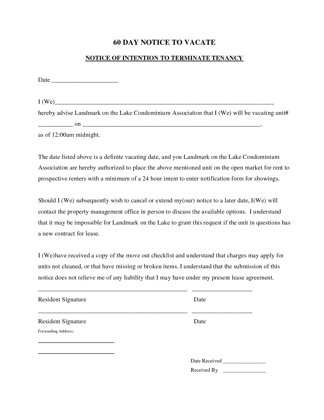 60 Day Vacate Notice Template