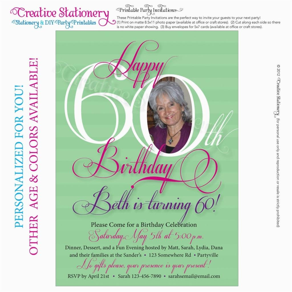 60th Birthday Party Invitation Wording Samples
