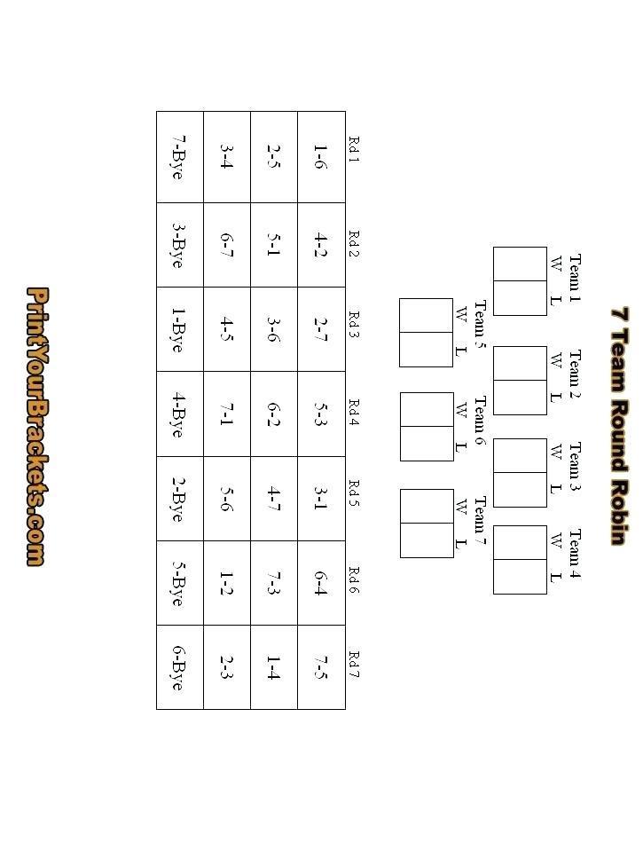 7 Team Baseball Schedule Template