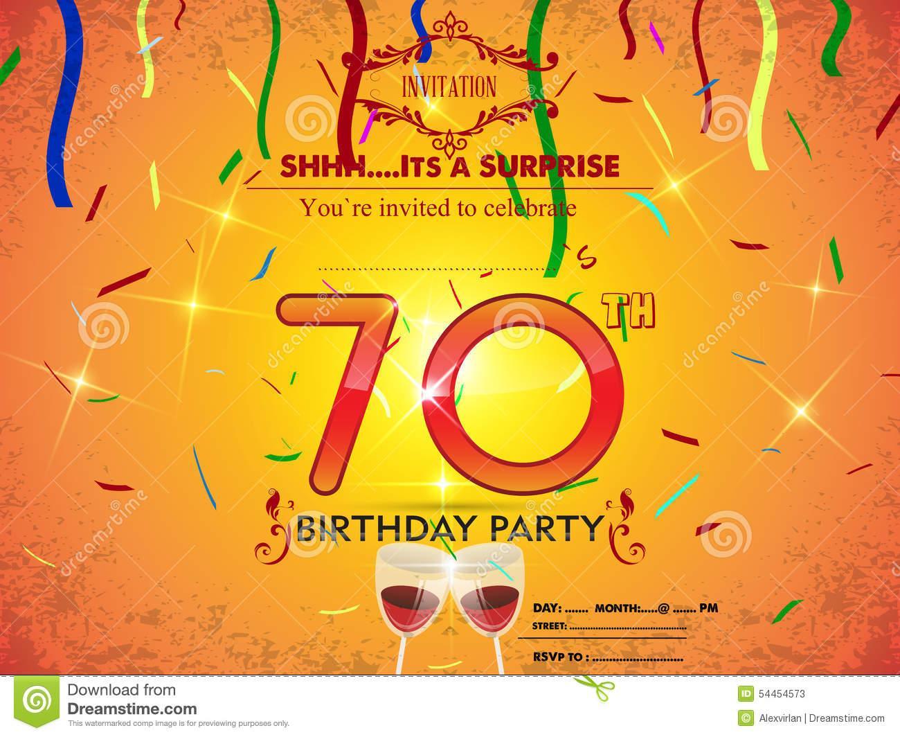 70th Birthday Template