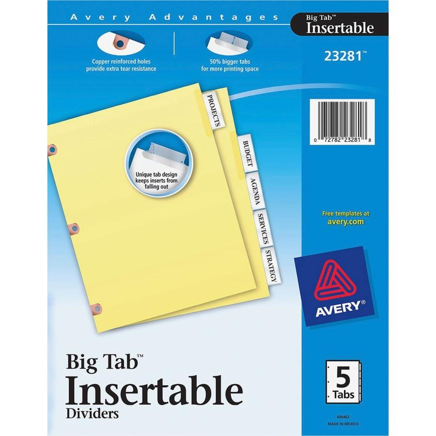 8 Large Tab Insertable Dividers Template Staples