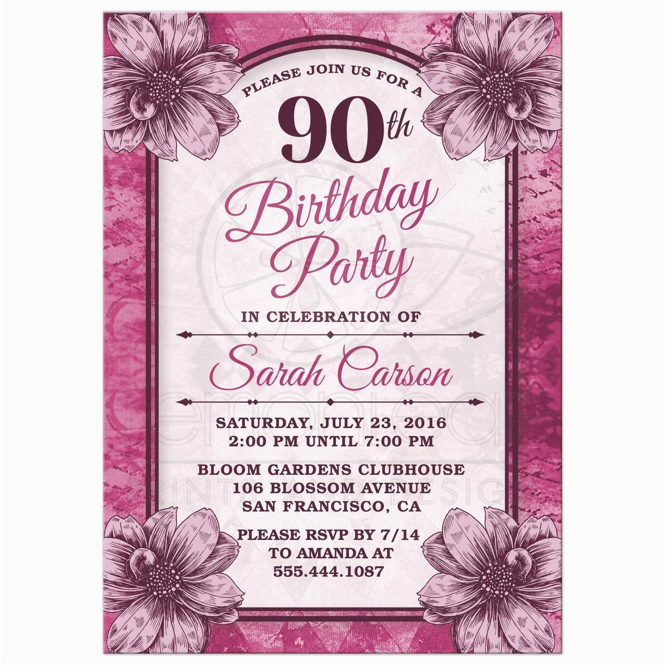 90th Birthday Invitations Templates Free
