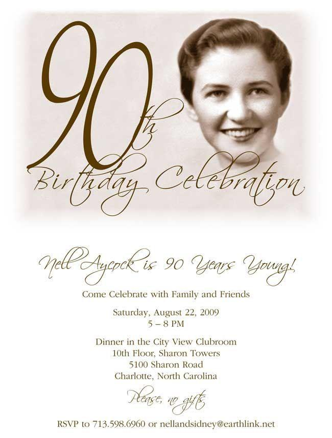 90th Birthday Templates Invitations