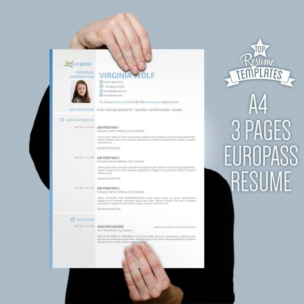 A4 Curriculum Vitae Resume Template
