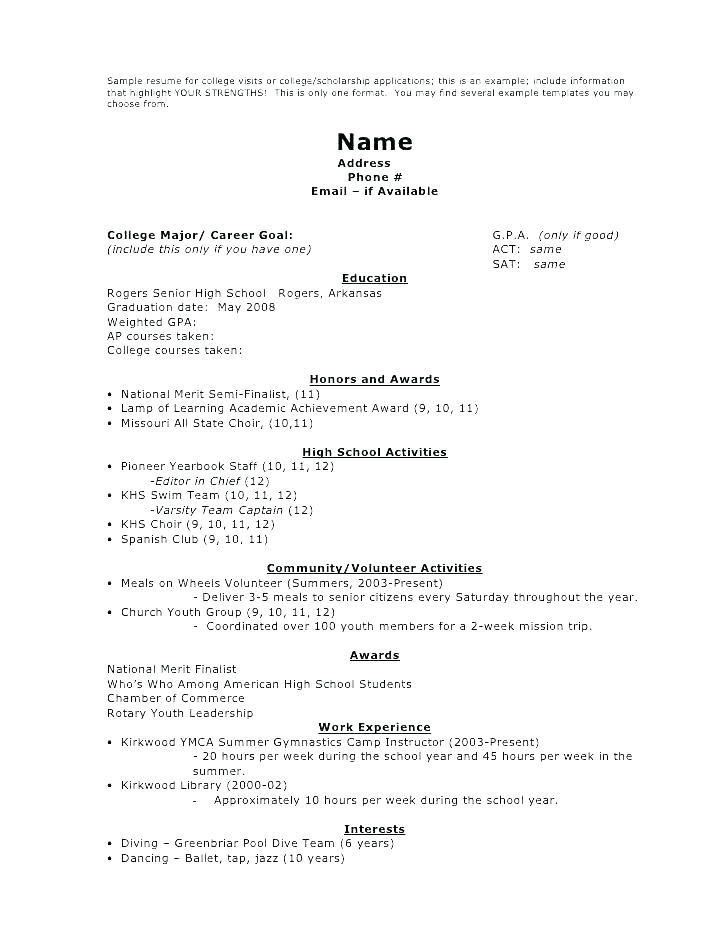 Academic Resume Template For Highschool Students