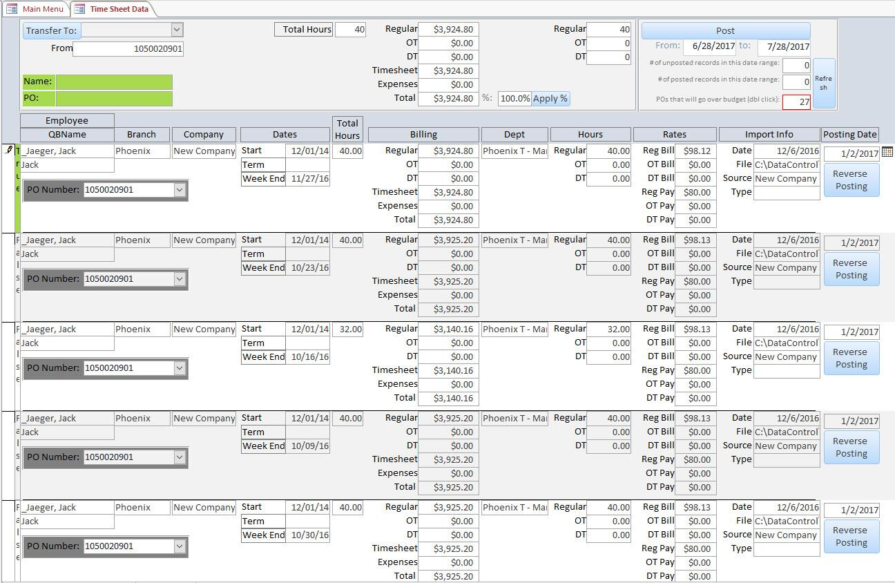 Access Timesheet Database Template