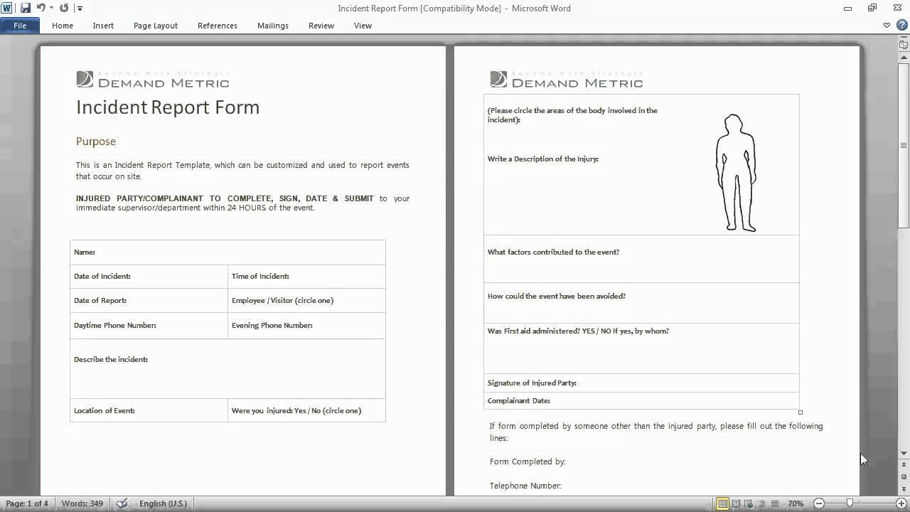 Accident Incident Report Form Template Nz