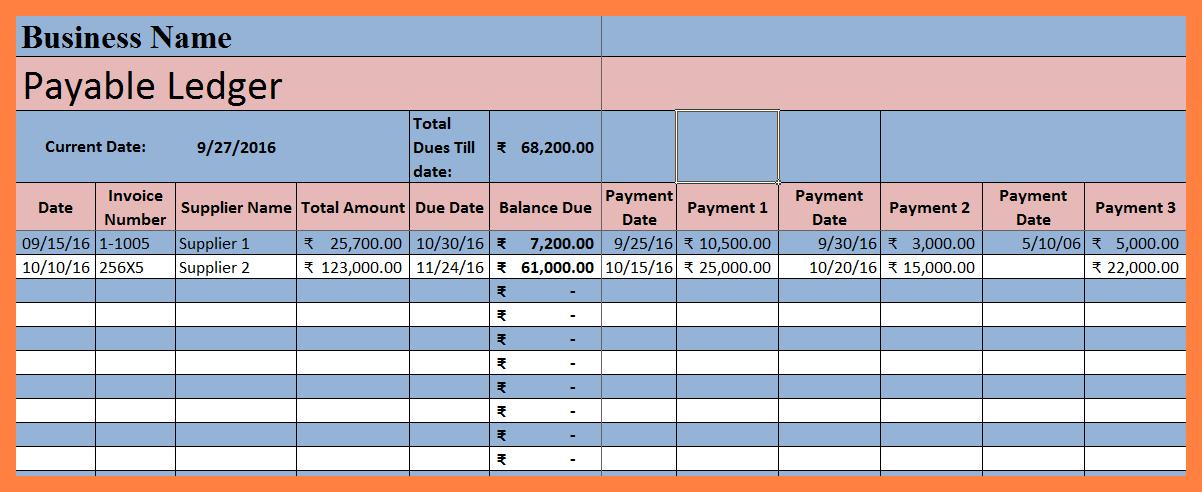 Account Payable Ledger Template