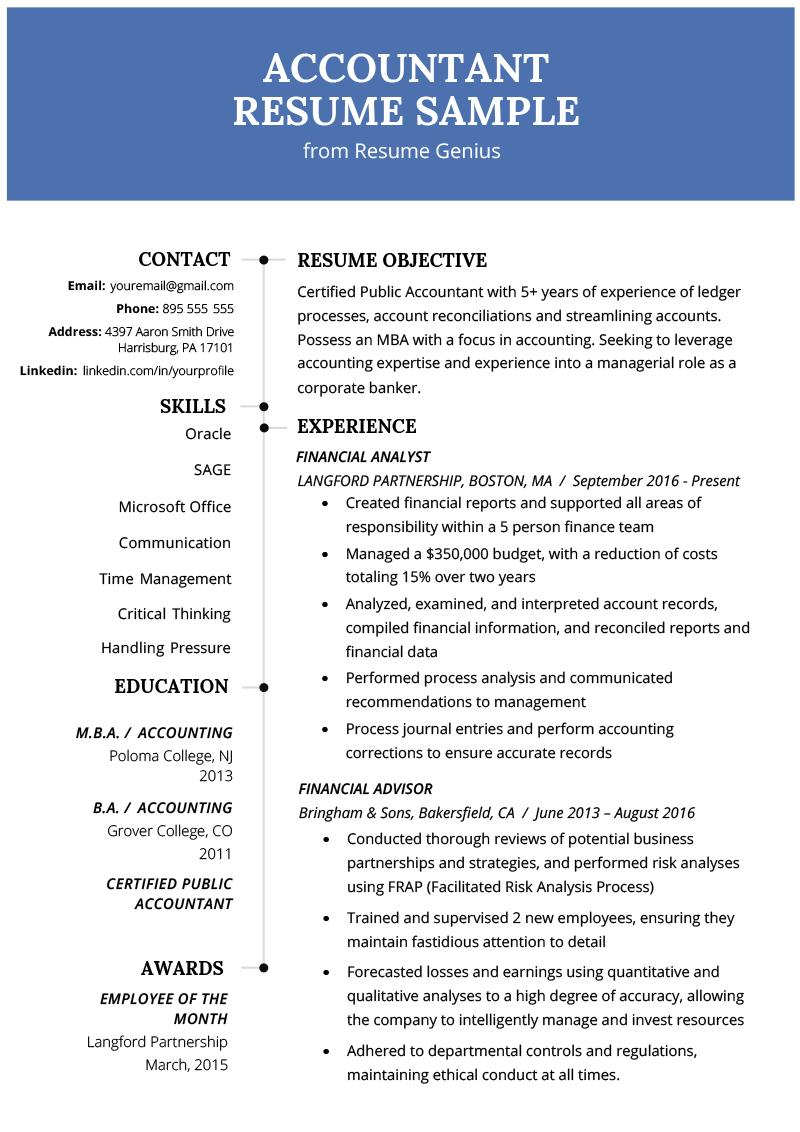 Accountant Resume Template Word