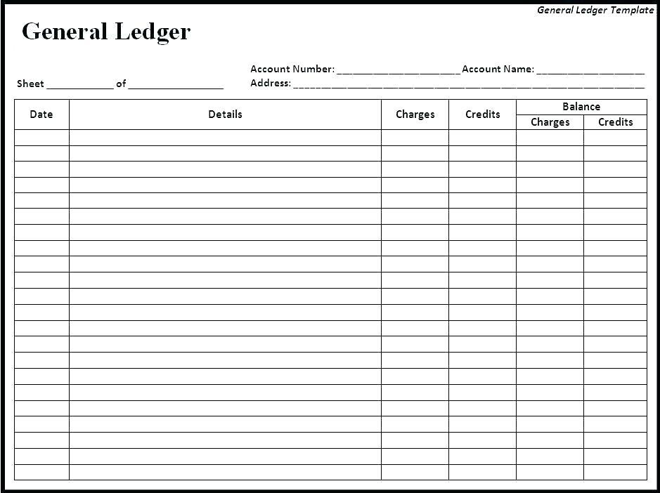 Accounting Ledger Template Free