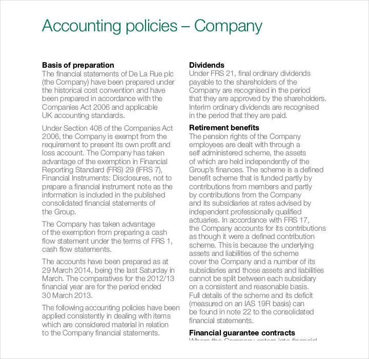 Accounting Policy Manual Sample