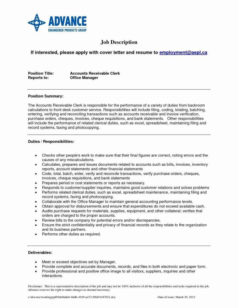 Accounts Receivable Clerk Resume Template