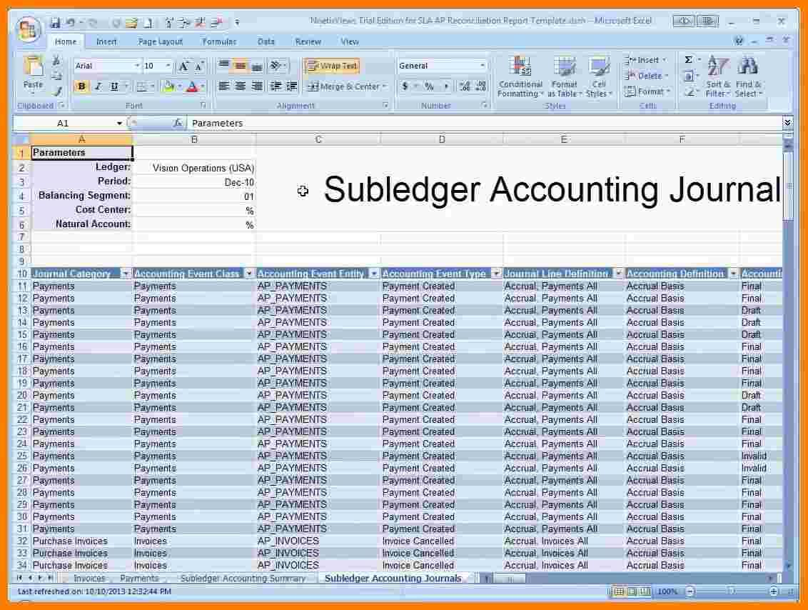 Accounts Receivable Ledger Template