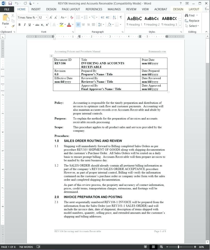 Accounts Receivable Policy Example