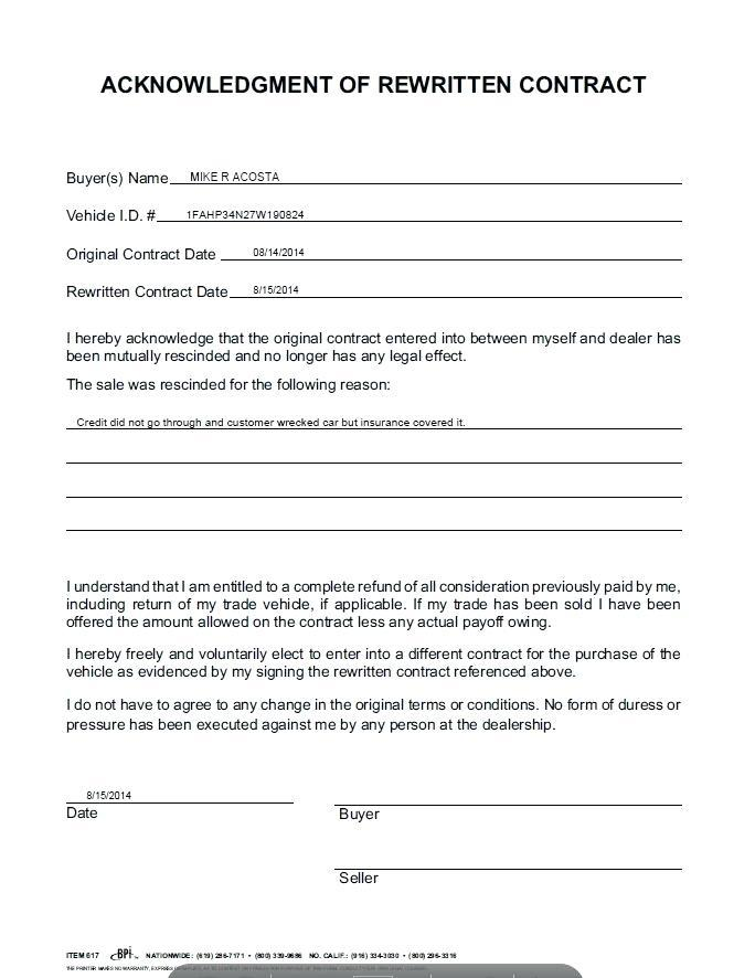 Acknowledgement Agreement Form