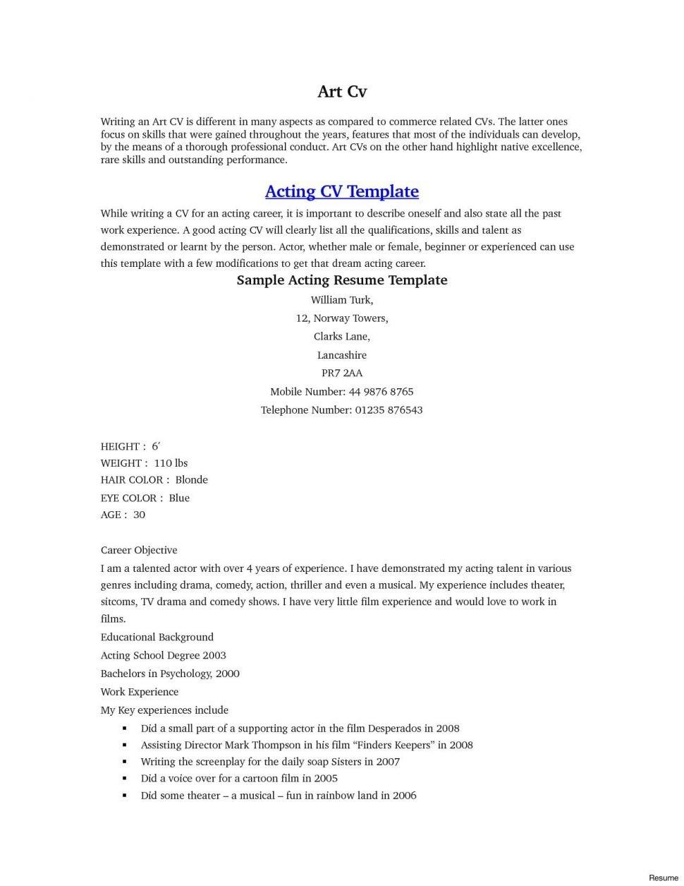 Acting Resume Template Beginners