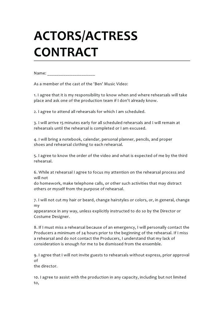 Actors Contract Template