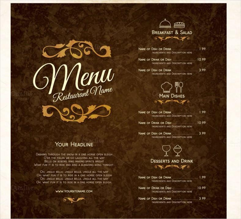 Adobe Illustrator Menu Templates Restaurant