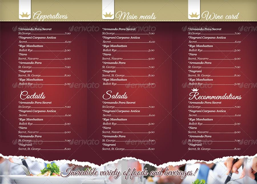Adobe Illustrator Restaurant Menu Template Free