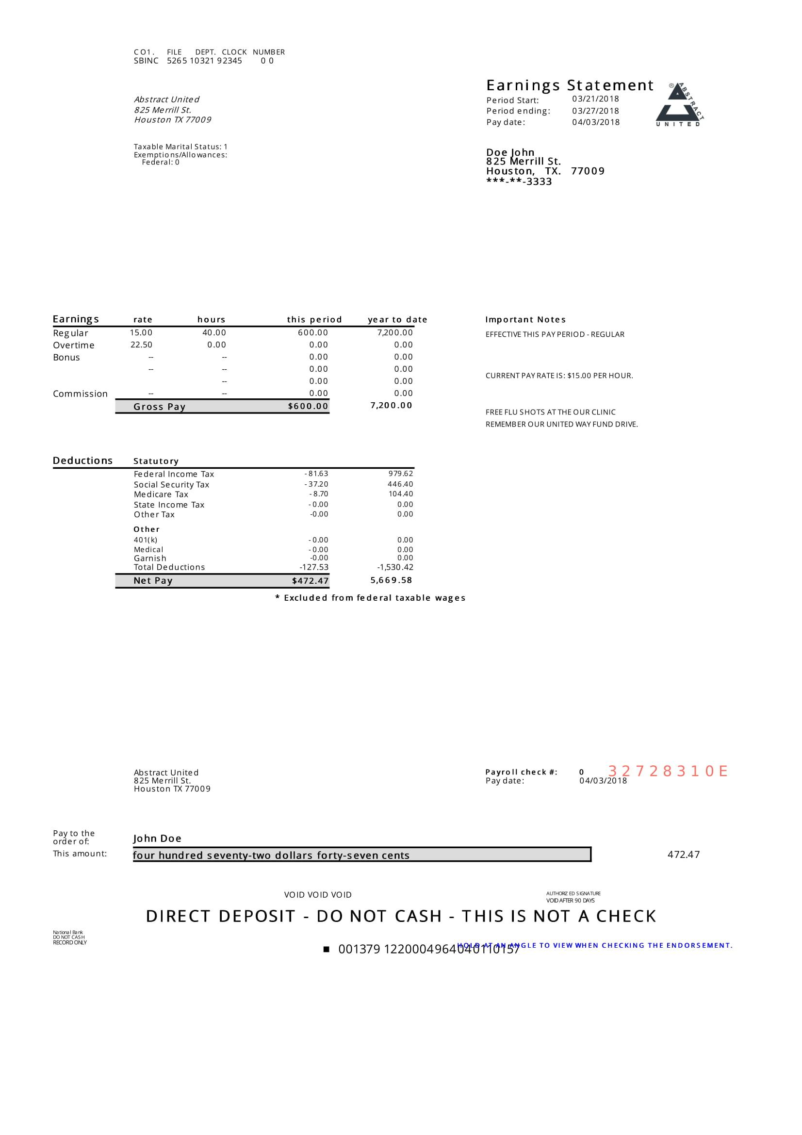Adp Pay Stub Sample Pdf