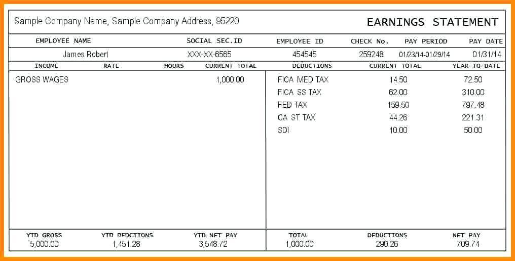 Adp Payroll Stub Sample