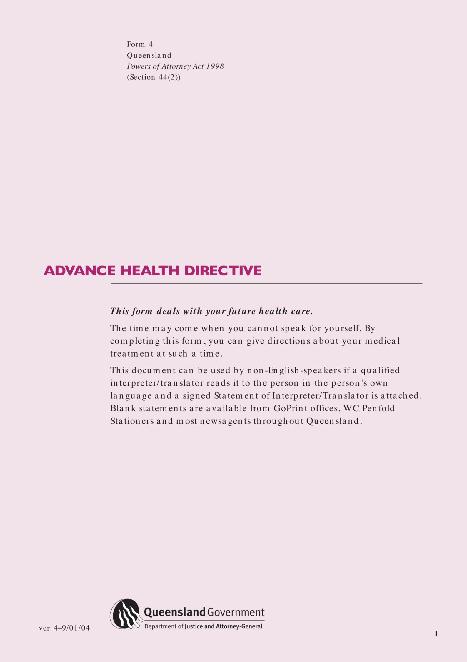 Advance Care Directive Form Qld