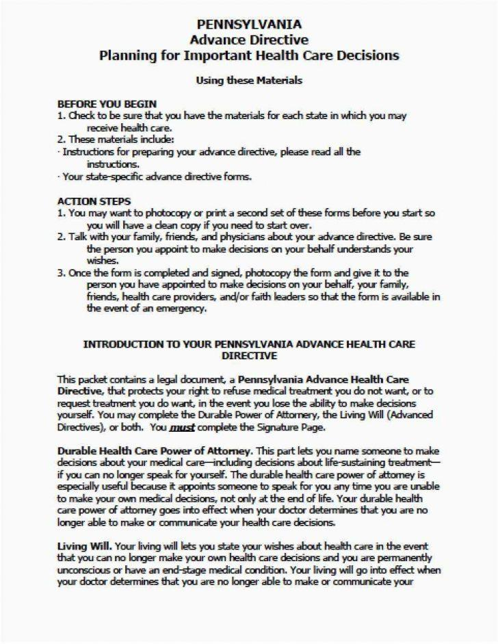 Advance Directive Form Template