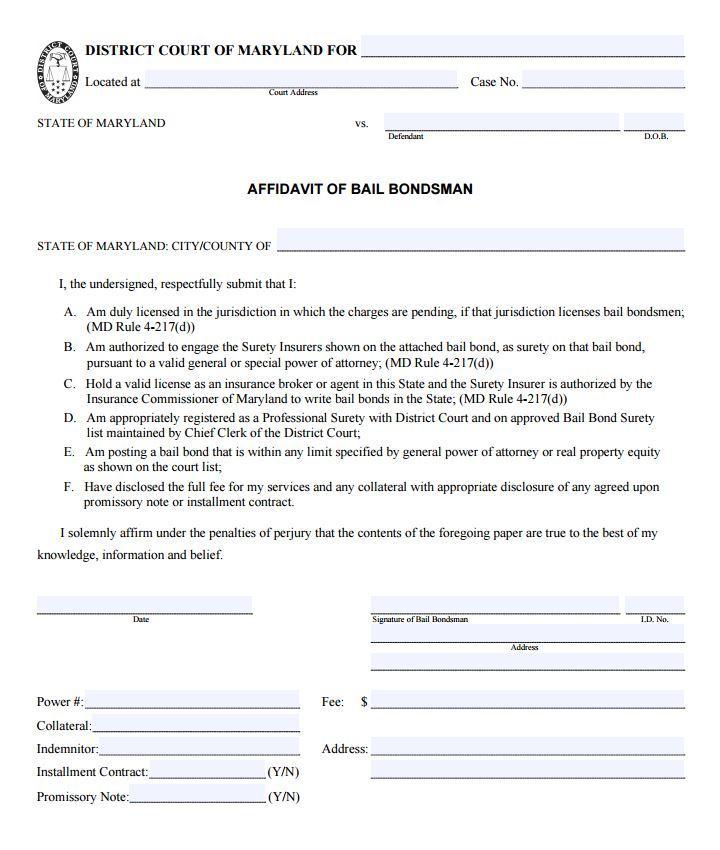 Affidavit Form Template Pdf