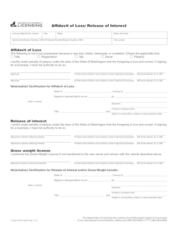 Affidavit Of Loss Template Word File