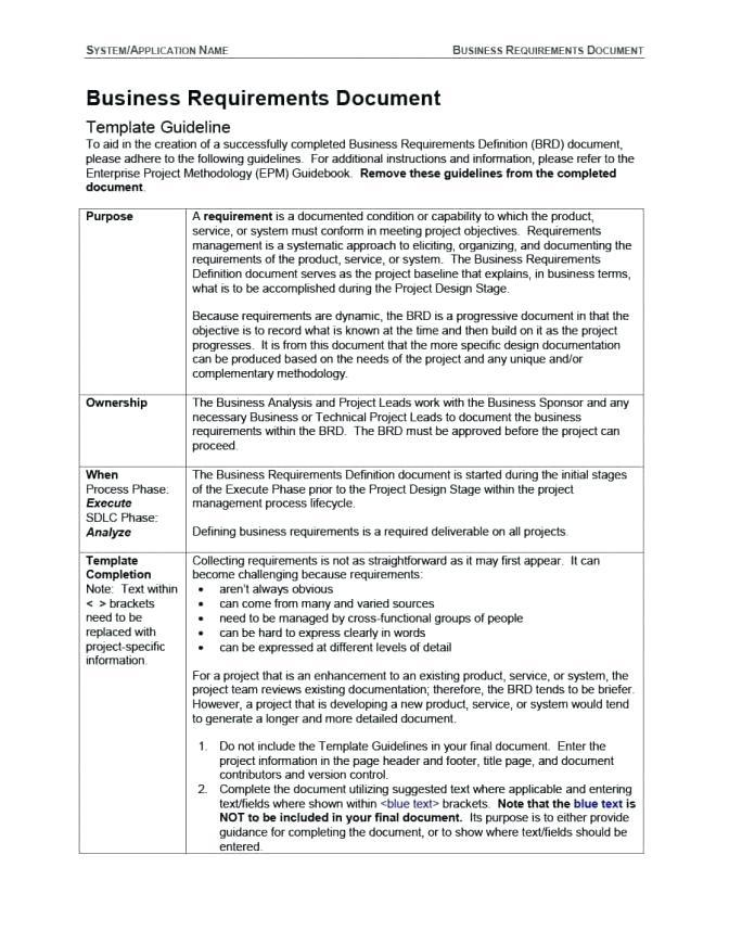 Agile Requirements Document Example