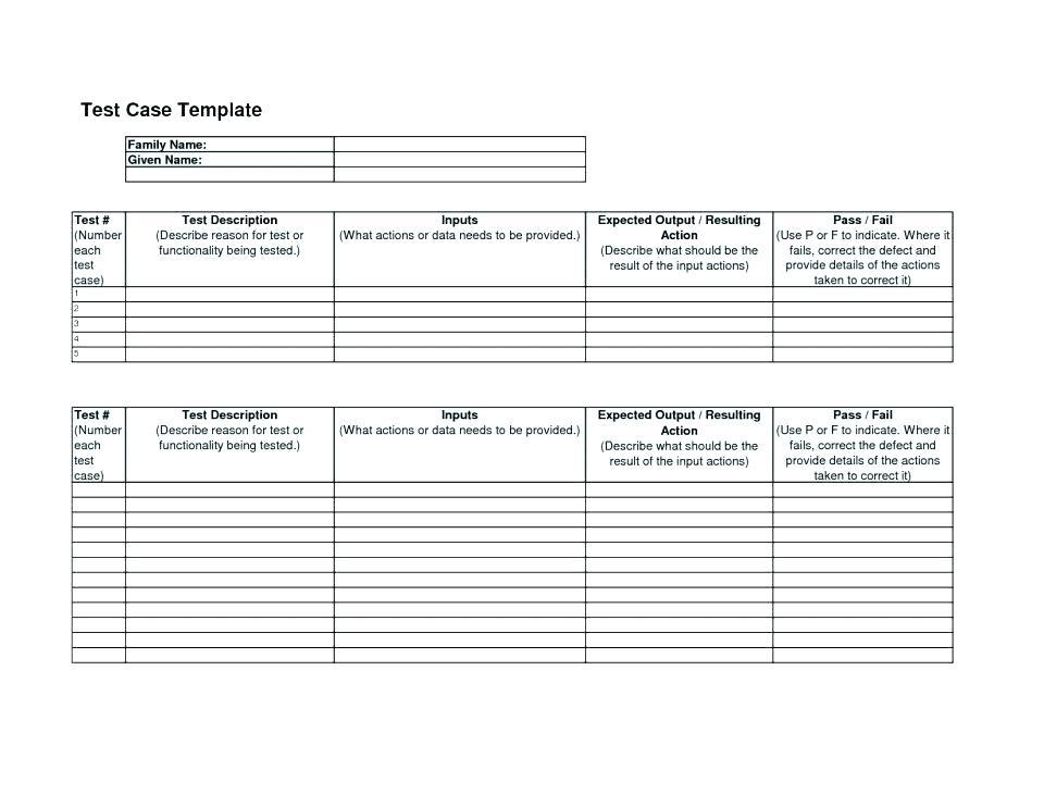 Agile Testing Test Case Template