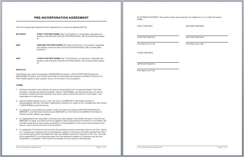 Agreement Contract Template Word